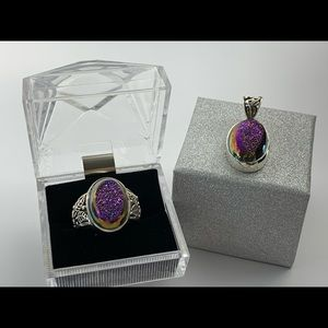 Jewelry - 925 Drusy Quartz Set